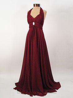 Vintage Inspired Burgundy Chiffon Halter Style Goddess Gown