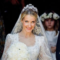 Ekaterina Malysheva wears the Hanoverian Floral Tiara at her wedding to Ernst August, Prince of Hanover, 8 July 2017