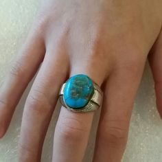 Beautiful Vintage Designer Turquoise Ring This ring is a beauty, signed Jane Yikaazba Popovitch with large Turquoise stone. Marked Sterling Silver. Vintage Jewelry Rings