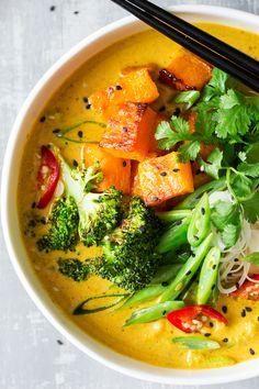 vegan khao soi soup close up