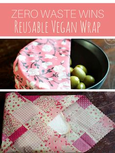 Soy Free Vegan Reusable Food Wrap - say no to single use plastic wrap.  This soy free food wrap is made using olive oil and is an alternative to bees wax wrap. #zerowaste #zerowastevegan #sustainableliving #ad