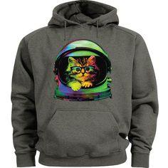 Hipster space cat hoodie Men's size sweatshirt hoody cat shirt space helmet top #Gildan #Hoodie