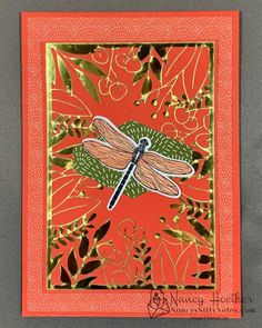 Dragonflies flitting around a brightly coloured garden. #nancysniftynotes Specialty Paper, Dragonflies, Nifty, Bright Colors, Card Stock, Stampin Up, Give It To Me, Bloom, Notes