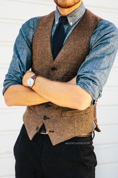 March 15, 2014. Vest:Ludlow Herringbone Wool- J. Crew - $73.50Shirt:Indigo Japanese Chambray- J. Crew - $88 (cheaper)Pants: AllSaints Outlet - $85Tie:J. Crew Factory- $22Shoes:J. Shoes Charlie-Jack ThreadsSunglasses:Ray Ban Clubmasterin Tortoise - $89Watch:Timex Easy Reader- Target - $29withASOSwatch strap