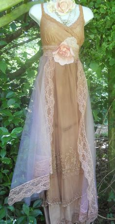 Tea stained dress embroidery tulle tiered by vintageopulence. $160.00 USD, via Etsy.