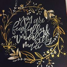 Today's amazingly awesome project! Too much fun! #wreath #brushlettering #watercolor #metallic #gold #black #calligraphy #calligraphyart