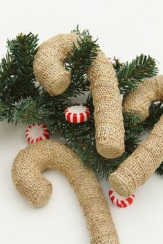 Candy Cane Ornaments Burlap Shabby Chic Christmas by FourRDesigns