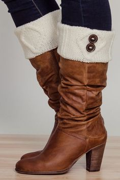 Stay Warm In Style Ivory Button Boot Cuffs