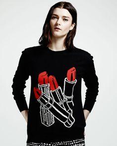Stella Mccartney Lipstick Intarsia Knit Sweater Black in Black   Lyst