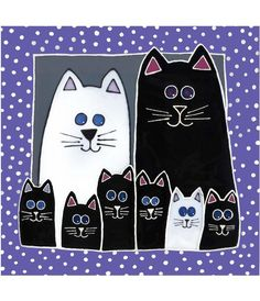 Kitty Family Portrait – Delphi-Buntglas – Cat art – Source by I Love Cats, Crazy Cats, Cute Cats, Wal Art, Frida Art, Cat Quilt, Black And White Drawing, Cat Crafts, Cat Pattern