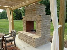 See thru fireplace built using a Backyard Flare, LLC DIY construction plan. - See thru fireplace built using a Backyard Flare, LLC DIY construction plan. Outdoor Pergola, Outdoor Rooms, Outdoor Living, Diy Pergola, Pergola Ideas, Pergola Shade, Outdoor Fireplace Designs, Backyard Fireplace, Diy Fireplace