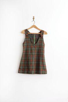 vintage 1960s mini dress // 60s wool plaid jumper by TrunkofDresses