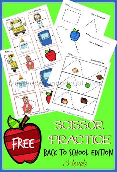 FREE preschool scissor practice! There are 3 levels! Super cute!