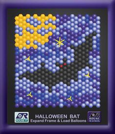 "HALLOWEEN BAT --- This is an attractive design that is rather easy to make. It takes just four Rouse Matrix Banner panels (2 packages) that expand to about 6' (2 meters) by 6' (2 meters). Load the balloons (inflated 4"" in diameter) according to this pattern or make up your own variation. Use # 160 or # 260 balloons to make the yellow lines to suggest stars.  Follow the link for more details, #MadeWithBalloons /  -- VISIT http://JustRouseIt.com/RED to learn  tools and skills to BUILDYOUR OWN."