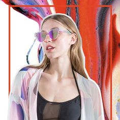 The #limedrop Mesh Panel Bikini top paired with the Gradient Splash Silk Kimono! We only have a handful of the #funglasses in the Radiant style left, so get your hands on a pair before its too late! #fashion #melbourne #swimwear #silk #liveinfullcolour