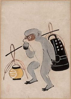Ôtsu-e: Monkey with Bell and Lantern Japanese, Edo period–Meiji era, century, Ink and color on paper, MFA Japan Illustration, Japanese Monkey, Japan Painting, Ink In Water, Tinta China, Korean Art, Japanese Prints, Japan Art, Paper Lanterns