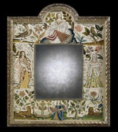 A fine quality late 17th century stump work mirror,