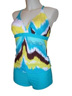 Womens MW Tankini Boyshorts Swimsuit, Swimwear, Crisscross Back, Multiple Prints, S-xxl $44.99