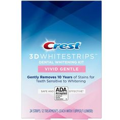 Crest Whitestrips Vivid White 24 Strips 12 Treatments for sale online Natural Teeth Whitening, Whitening Kit, Dental Bridge, Stained Teeth, Cosmetic Dentistry, White Teeth, 3d, Hydrogen Peroxide, Decay