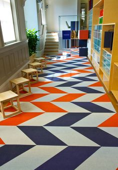 Use Carpet Tiles To Make Funky Designs For A Rug And Creative