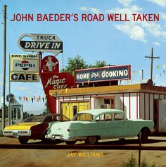 "John Baeder Fine Art (photorealistic paintings of Mid-Century America postcards are a specialty) ""Road Well Taken"" is Baeder's book collection of these paintings."