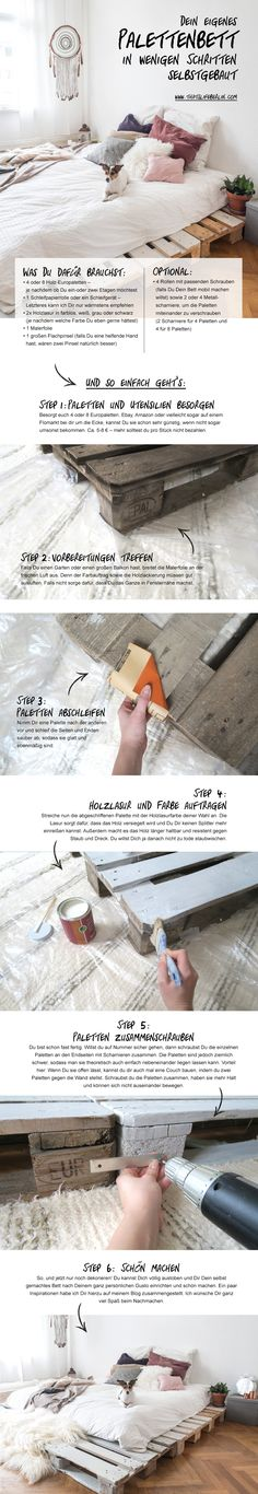 Dein eigenes Palettenbett in nur wenigen Schritten selbstgemacht! Make your own palett bed in only a few steps. #selfmade #easy #DIY Mehr findest Du auf: www.thatslifeberlin.com