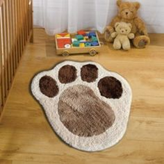 Nursery Collection Puppy Paw Natural Rug