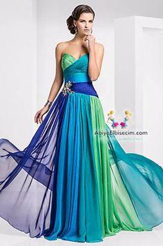abiye elbise rengarenk