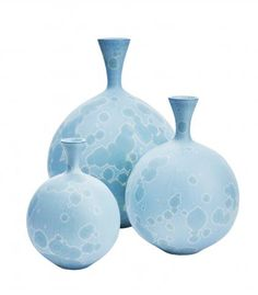 Ted Secombe Set of 3 Vases in Blue/Grey Satin Glaze Exhibitor: Signed and Designed The Art & Antiques Fair, Olympia.