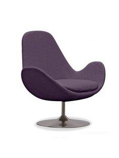 Lounge fauteuil Houston paars laag (draaipoot)