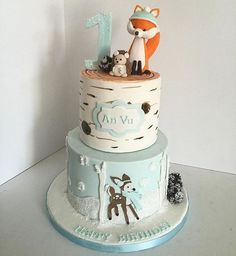 winter woodland animals cake on Cake Central