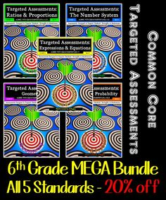 Now you can get Targeted Assessments for ALL FIVE STANDARDS in an easy-to-download Bundle AND $AVE 20%! WAHOO!  Targeted Assessments are designed to give you the data you need about your students understanding of each indicator in all FIVE Common Core Standards for 6th Grade! Our questions that have been carefully crafted to ensure you fully assess each indicator!
