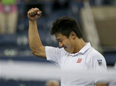 Kei Nishikori, of Japan, reacts after defeating Stan Wawrinka, of Switzerland, in five sets during the quarterfinals of the 2014 U.S. Open tennis tournament, Wednesday, Sept. 3, 2014, in New York. (AP Photo/Mike Groll) ▼4Sep2014AP|Djokovic tops Murray for 8th US Open semi in a row http://bigstory.ap.org/article/makarova-beats-azarenka-reach-us-open-semis #US_Open_Tennis_2014 #Kei_Nishikori