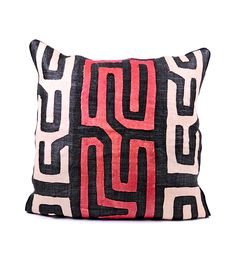 African Kuba Cloth Pillows with Inserts - Home Decor Handmade in Africa - Swahili Modern - 4