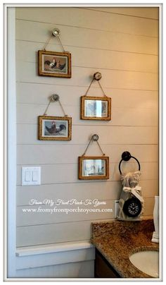Just little frames hung on old doorknobs! Texas Farmhouse-RoundTop Texas-Trendmaker Homes-From My Front Porch To Yours