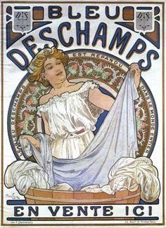 Art Poster: #FreeShipping Bleu Deschamps 1897 Alphonse Mucha Advertising Reproduction Canvas Print 20X27