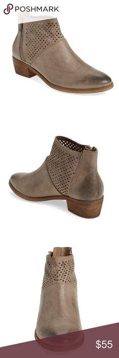 "NWOT Perforated Leather Booties Tab natural leather low-leeled booties with laser cut perforation. Brand is Hinge by Nordstrom. 1.5"" heel. ALL OFFERS WELCOME!! Nordstrom Shoes Ankle Boots & Booties"
