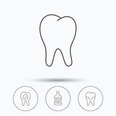 Tooth, dental crown and mouthwash icons.