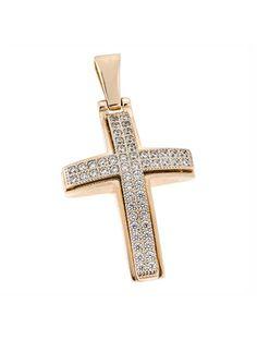 Σταυρός Βάπτισης Ροζ Χρυσός 14Κ με Ζιργκόν Αναφορά 023420 Ένας σταυρός βάπτισης για ένα κορίτσι ή κόσμημα για μια γυναίκα κατασκευασμένος από Χρυσό 14Κ σε ροζ χρώμα με πέτρες ημιπολύτιμες να τον διακοσμούν (ζιργκόν) σε χρώμα λευκό. Diamond Cross, Cross Pendant, Crosses, Christening, Pendants, Jewellery, Jewels, Accessories, Hang Tags