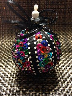 Handmade sequin ornament by OrnamentsthatDazzle on Etsy