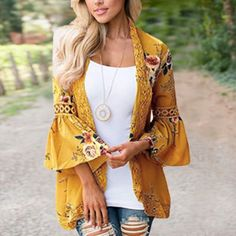 Floral Flare Lace Long Sleeve Jacket