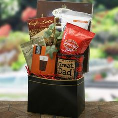 Fathers Day gift baskets, Father's Day gift ideas, Father's Day gift basket, tortilla chips, salsa, snack mix, chocolate chip cookies. $58.95  http://www.oldtimechocolates.com/store/fathers-day-gift-baskets/we-love-dad-fathers-day-gift-baskets-777700000403021/