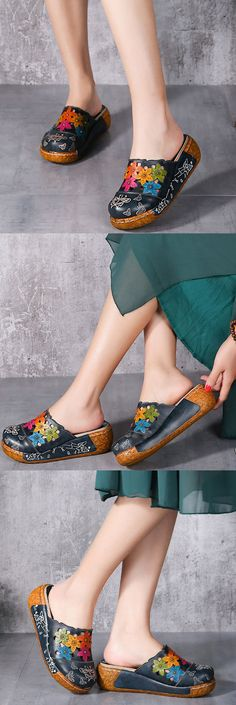 US$54.78 Socofy Original Leather Butterfly Print Silppers Flower Platform Retro Sandals