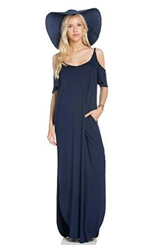 My Space Clothing Women's Jersey Cold-Shoulder Maxi Dress w/Pocket -Made in USA (Large, Navy)