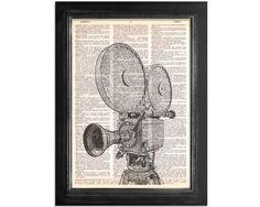 Movie Camera Black & White - Movie Camera Art Printed on Vintage Dictionary Paper - 8x10.5 on Etsy, $10.09 AUD