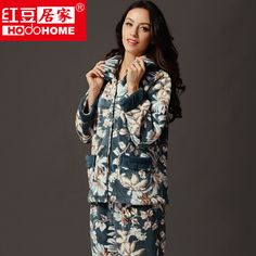 db9e479b2d 100% polyester coral fleece allover flower print women s thick pajama sets  for winter free shipping