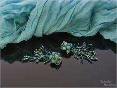 Spirala beading: Under the Sea - Earrings Neon Purple, Green Turquoise, Rose Petal Beads, Orange Crystals, Glass Pumpkins, Gold Wash, Blue Zircon, Designer Earrings, Czech Glass