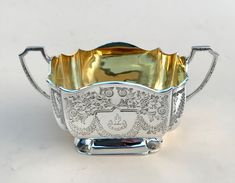 VICTORIAN SILVER BATCHELORS SUGAR BOWL BY ATKIN BROTHERS OF SHEFFIELD 1895