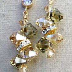 Champagne Peridot Crystal Earrings, Gold, Swarovski, Bridal, Wedding, Handmade J...