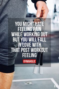 You might hate feeling pain while working out But you will fall in love with that post workout feeling. More motivation: https://www.gymaholic.co #fitness #motivation #gymaholic